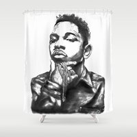 kendrick lamar Shower Curtains featuring Kendrick Lamar Lithograph by Drewnelz