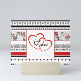 just Married Hearts white pattern II Mini Art Print