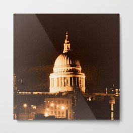 St Paul's Cathedral in Sepia & Dry Brush Effect Metal Print