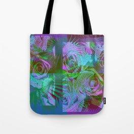 Green & Purple Roses Tote Bag