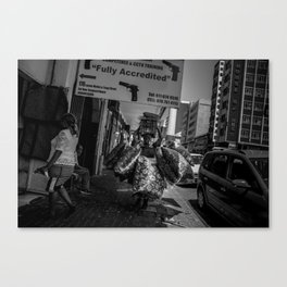 Old Lady Carrying Blankets Canvas Print