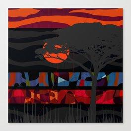 Desert tree with sunset Canvas Print