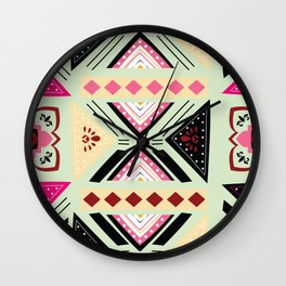 Vibrant Graphic Tile Pattern in Pink and Mint Green Wall Clock