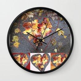 Autumn Heart Leaf Group 1 Wall Clock