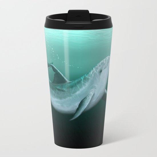 """Riversoul"" by Amber Marine ~ Indian River Lagoon bottlenose dolphin art, digital painting, (c) 2014 Metal Travel Mug"