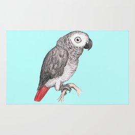 Cute African grey parrot Rug