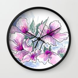 Cherry Blossom Ink and Watercolor Wall Clock