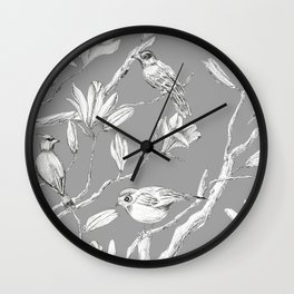 Magnolia flower and birds ink-pen drawing Wall Clock