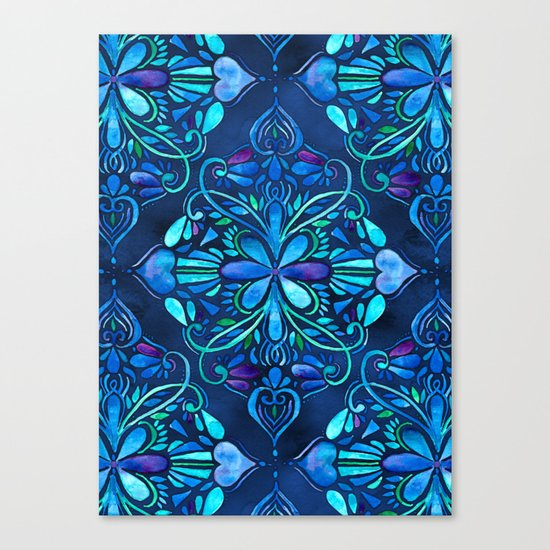 Deep Ocean Art Nouveau Watercolor Doodle Canvas Print