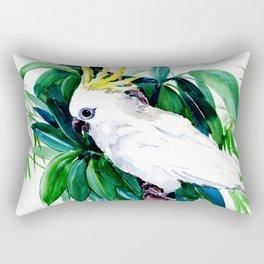 Parrot White Cockatoo and Tropical Foliage Rectangular Pillow