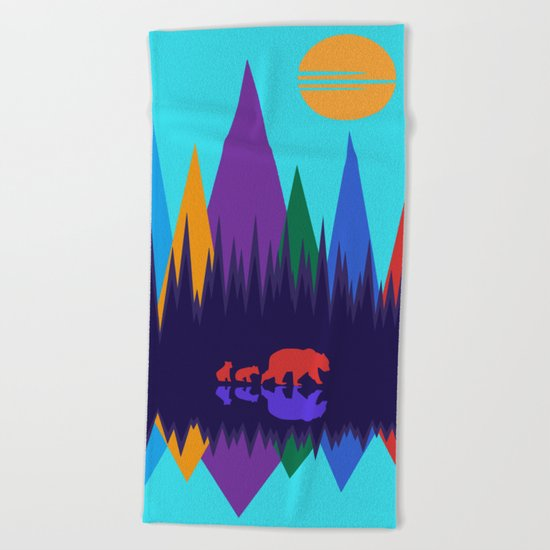 Bear & Cubs #3 Beach Towel