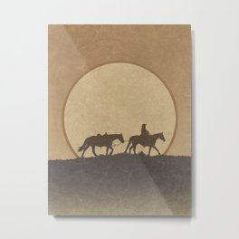 Roaming Paladin: Lonesome Cowboy and His Horses in the Desert Metal Print