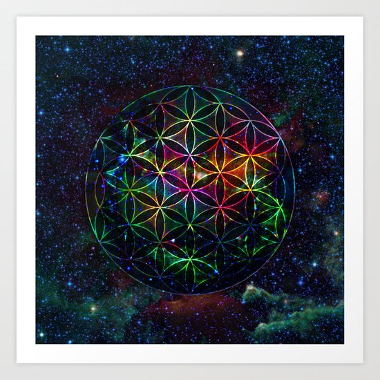 Flower of Life in the Universe - Universe in the Flower of Life Art Print