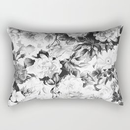 Black gray modern watercolor roses floral pattern Rectangular Pillow