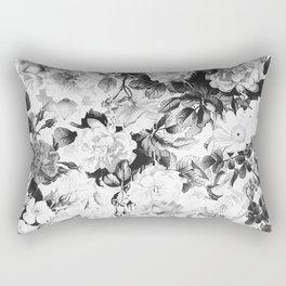 Black gray modern watercolor roses floral pattern Rectangular Pillow