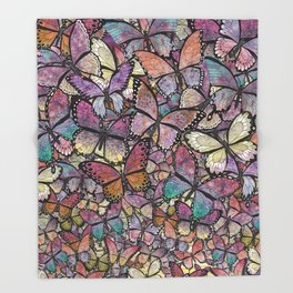 butterflies aflutter rosy pastels version Throw Blanket