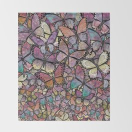 butterflies aflutter rosy pastels version Throw Blanket
