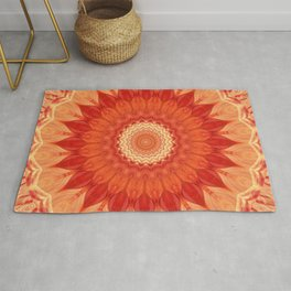 Mandala orange red Rug