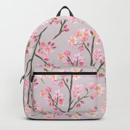 Cherry Blossom Pattern on Gray Backpack