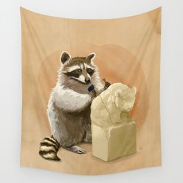 Raccoon in Pursuit of Perfection Wall Tapestry