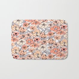 Pink Inky Floral - Watercolor Flowers - Ink Bath Mat