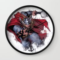 thor Wall Clocks featuring Thor by Isaak_Rodriguez