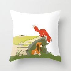 best friends forever.. a fox and a dog Throw Pillow
