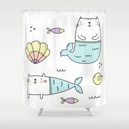 Ocean Merkitties Shower Curtain