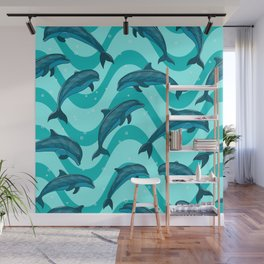A flock of dolphins in the sea. Marine seamless pattern. Wall Mural