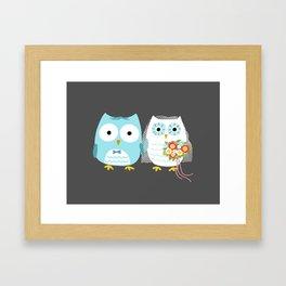Owls Wedding Day   Bride and Groom Framed Art Print