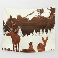 woodland Wall Tapestries featuring woodland by jefdesigns