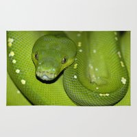 monty python Area & Throw Rugs featuring More Green Python Portraits by ChiaraLily