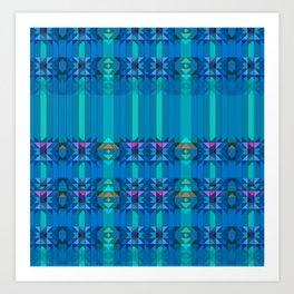 Blue Green Geometric Pattern Art Print