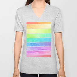 Watercolor Rainbow Stripes in Ombre Summer Pastels Unisex V-Neck