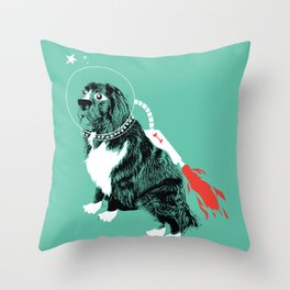 A Flying Dog In Outer Space Throw Pillow
