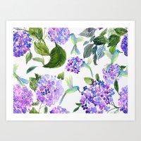 Hidrangeas and humminbirds Art Print