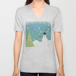 Snowman on Christmas Day Unisex V-Neck