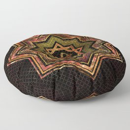 Red Gemstone and gold  Star of Lakshmi -  and Sri Floor Pillow