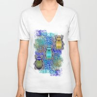 quilt V-neck T-shirts featuring Scarabs Quilt by Vannina