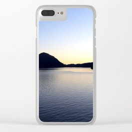 Salish Sea Sunset - Canada - With Text Clear iPhone Case