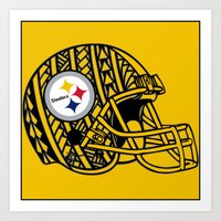 steelers Art Prints featuring Polynesian style Steelers by Lonica Photography & Poly Designs