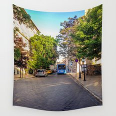 BUS IN BUDAPEST Wall Tapestry