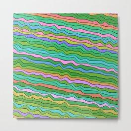 Noisy waves in green Metal Print