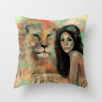king Throw Pillows featuring King by Slaveika Aladjova