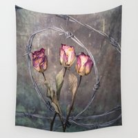 depression Wall Tapestries featuring Trapped Roses by Maria Heyens