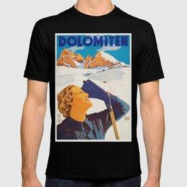 Vintage Dolomites Mountains Italy Travel Poster T-shirt