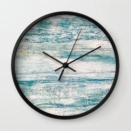 Sea Foam Blue Acrylic Textured Painting Wall Clock