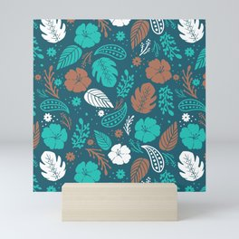 Teal & Brown Tropical Foliage Pattern Mini Art Print