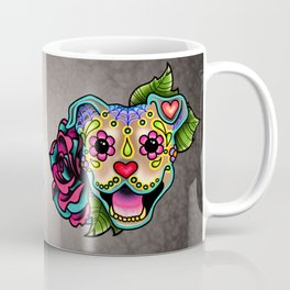 Smiling Pit Bull in Fawn - Day of the Dead Pitbull Sugar Skull Coffee Mug