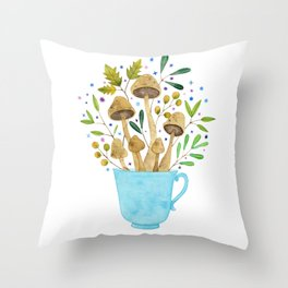 Relaxing Shrooms Throw Pillow